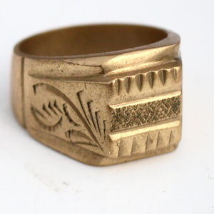 Accessories - Solid Mens Heavy Brass Etched Ring Size 10.5 Mans